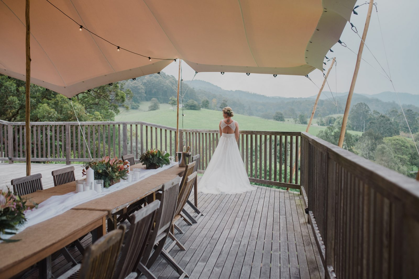 Friday Creek Retreat Bride on Deck Coffs Wedding Venue